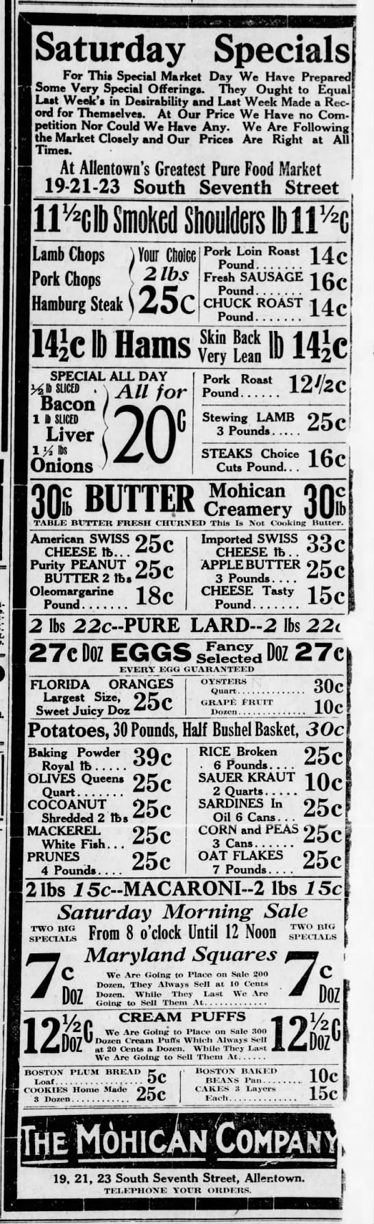 Grocery store ad, Allentown, PA, Jan 1915 -