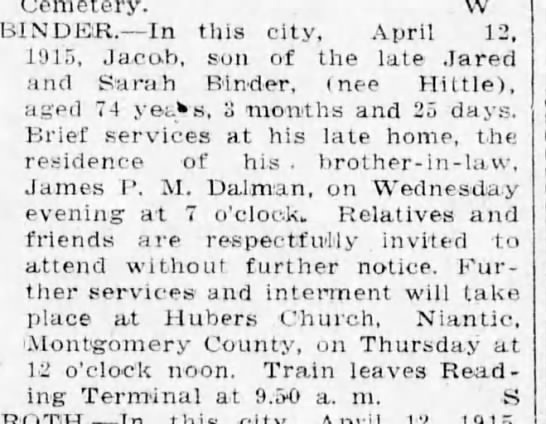 Jacob Binder s/o Jared Binder & Sarah Hittle died Apr 1915 -