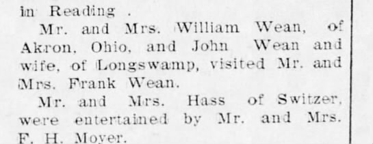 William Wean of Akron, OH 1907 -
