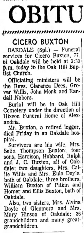 Cicero Buxton Obituary -
