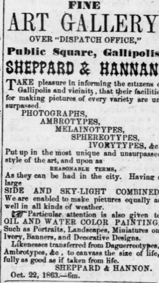 Sheppard and Hannan, gallipolis 1863 -