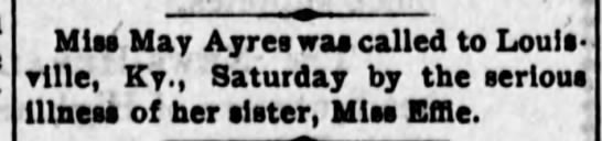 May Ayres called to sick sister Effie Ayres Aug 10, 1905 News Herald Hillsboro, Oh -