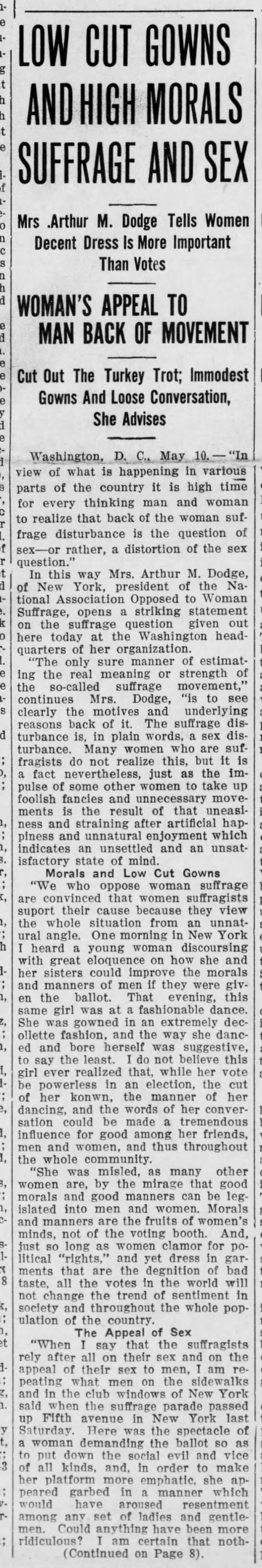 Josephine Jewell Dodge on immorality and suffrage (1913). -