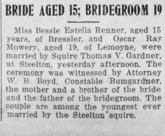 Bessie Estella Renner Marries Oscar Rea Mowery 1914 Newspaperscom
