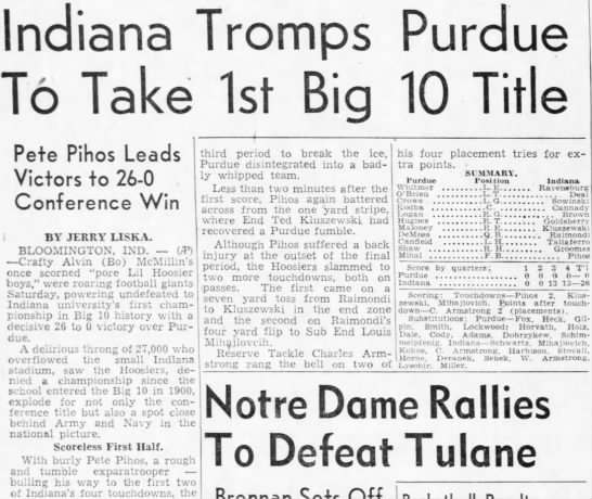 Indiana Tromps Purdue To Take 1st Big 10 Title -