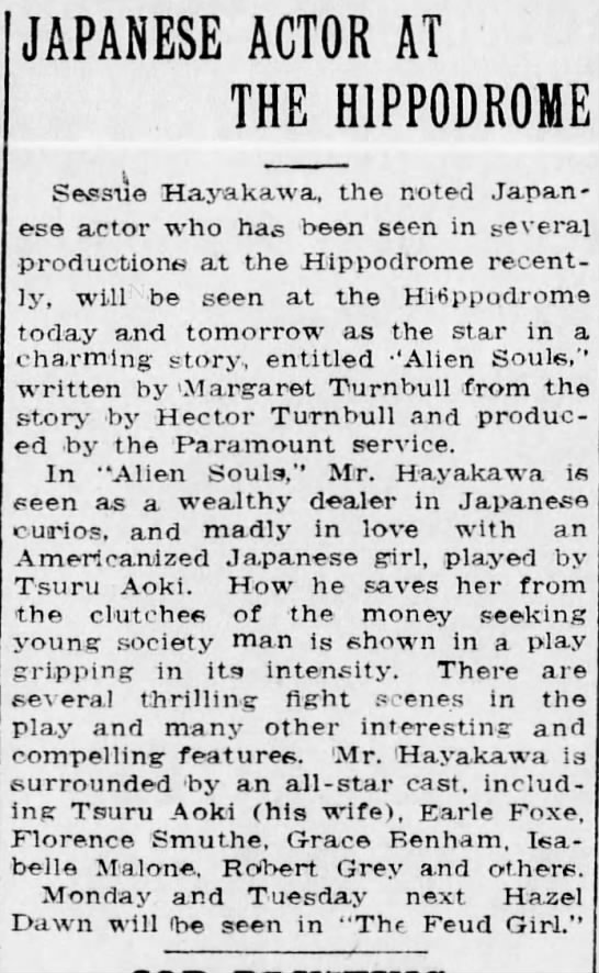 Japanese Actor at the Hippodrome -