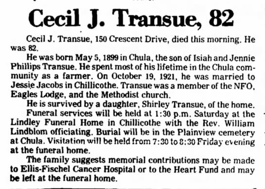 Cecil J. Transue died 20jan1982 -