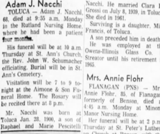 Nacchi Family who housed Joseph Battistelli in Toluca while he mined. -