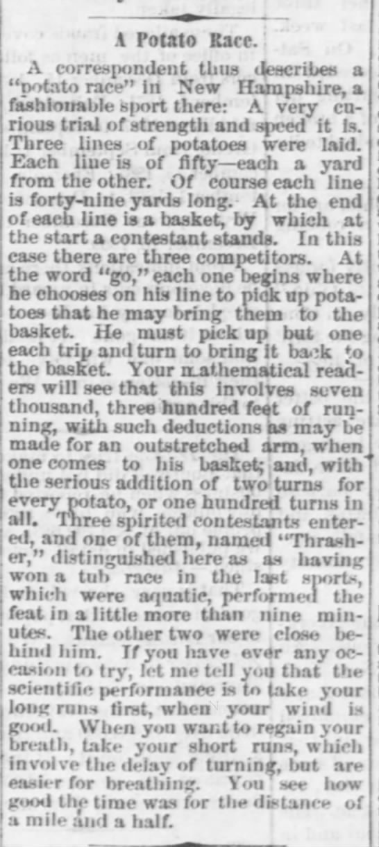 1871 Potato Race - Ohio -