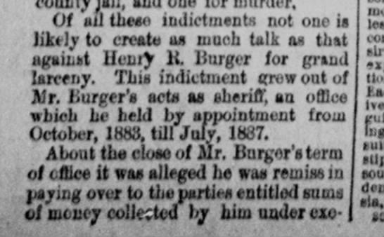 Henry Burger larceny trial- Column 1 -