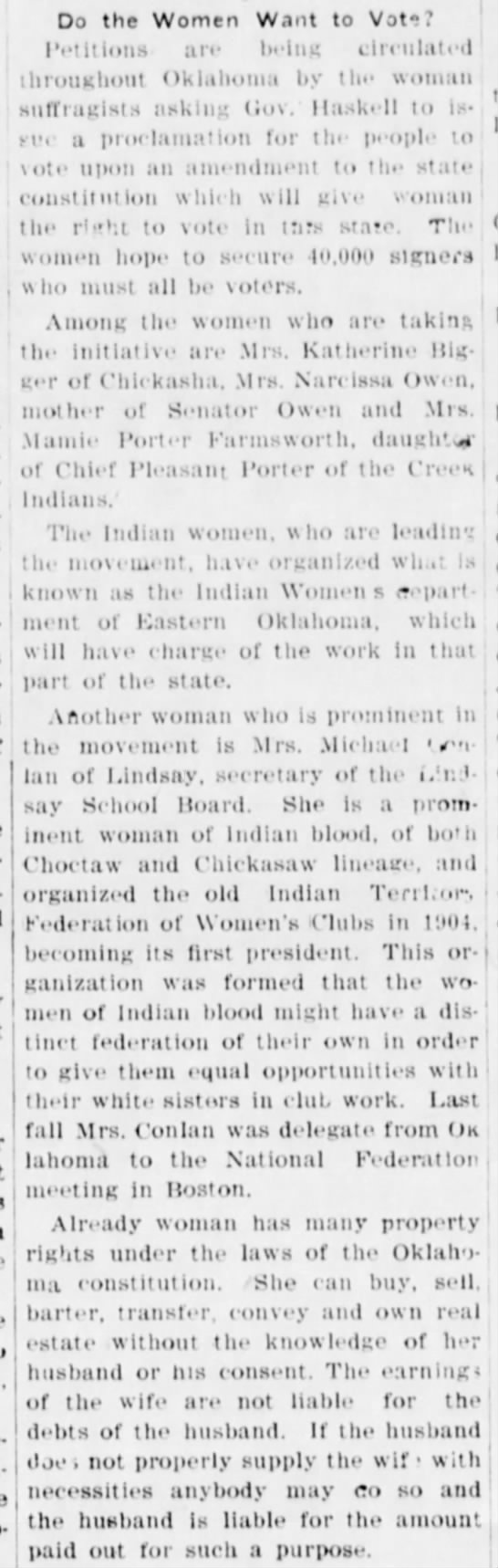 Do the Women Want to Vote? The Daily Ardmoreite (Ardmore, Oklahoma) May 24, 1909, p 3 -