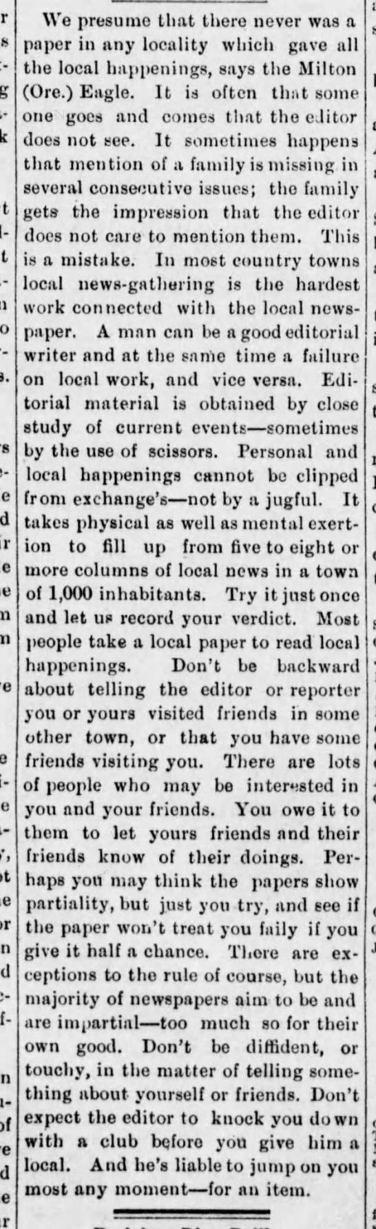 Report your social news to the newspaper, 1899 -