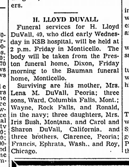 H Lloyd Duvall obit, Dixon Evening Telegraph, Dixon, ILL 15 Jan 1953 -