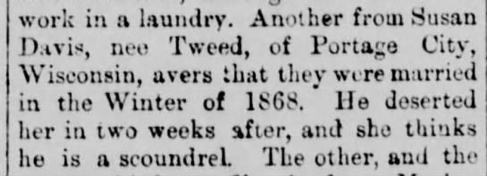 April 22, 1880 The Vancouver Independent (Washington) Susan Tweed Portage City, WI -