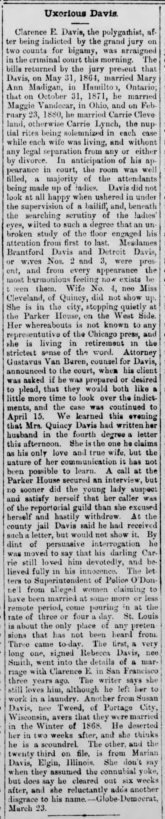 April 22, 1880 The Vancouver Independent (Washington) Uxorious Davis 3 more wives write -