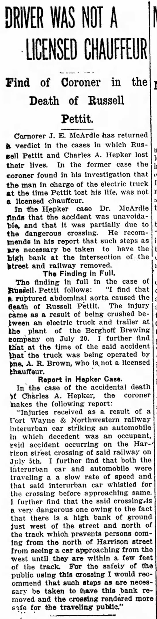 Russel Pettit Accident 7-24-1916