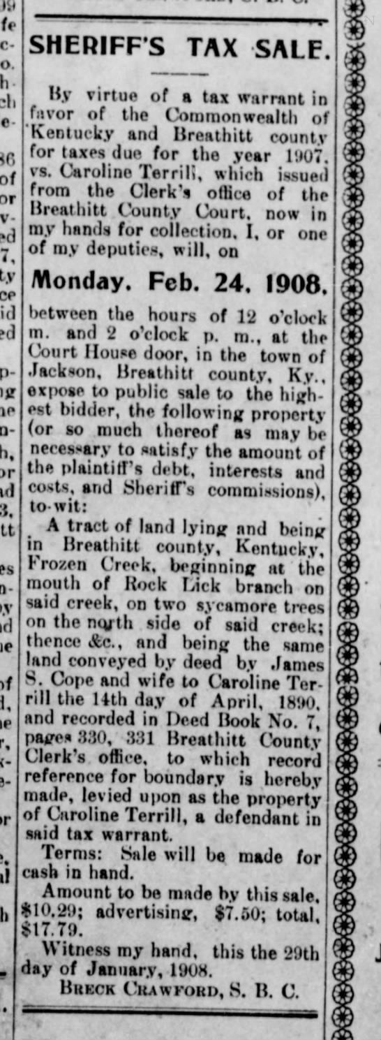 Breathitt County News - Jackson, KY Caroline Cope Terrill's