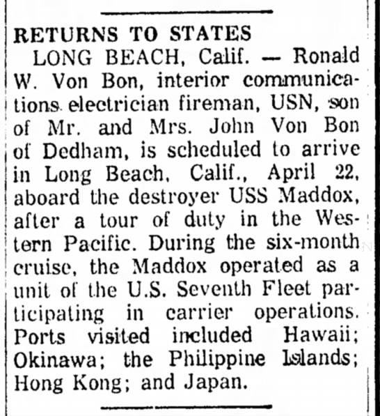 Ronald Von Bon, 23 April 1959, Returns to States (Navy) -