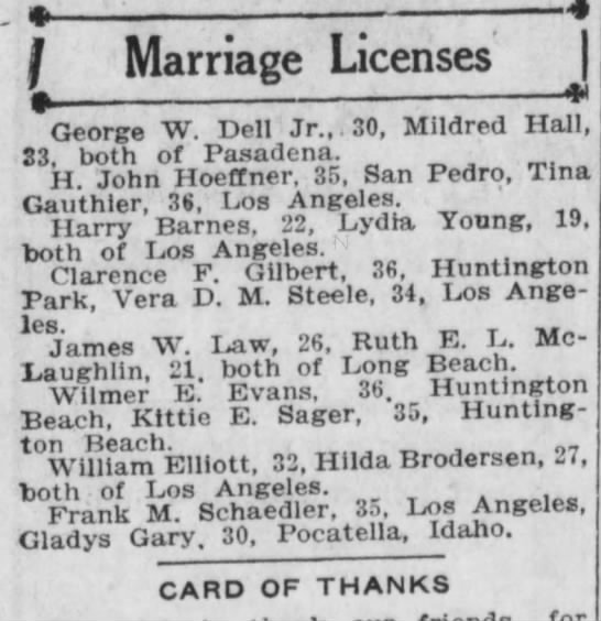 hilda and papa marriage anouncement1921 -
