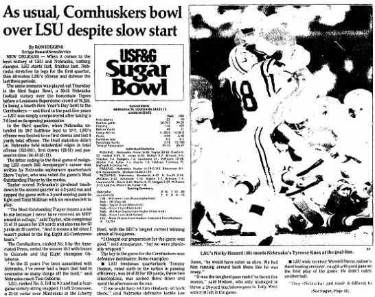 1987 Sugar Bowl, Scripps part 1 -