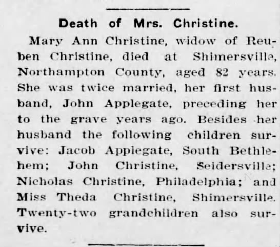 Death of Mary Ann (Kichline) Christine -