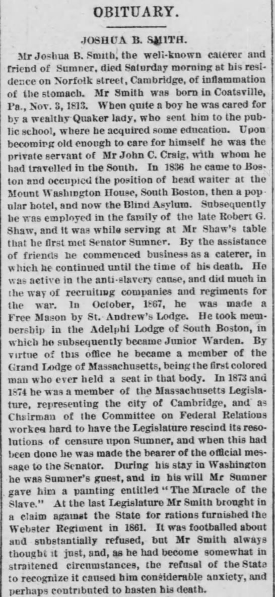 Joshua B. Smith obituary in the Boston Post, July 7, 1879, p. 3. -