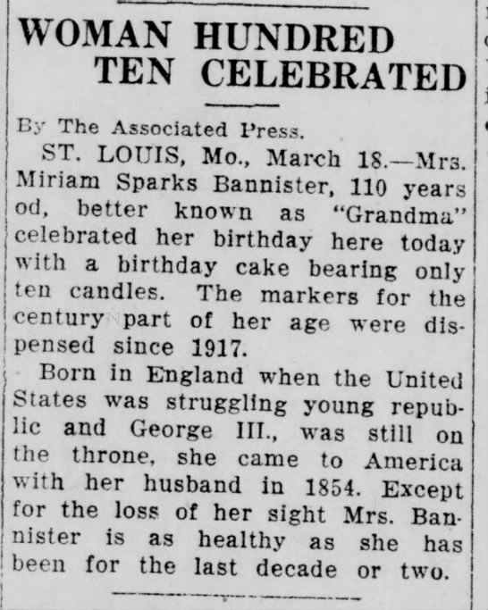 Miriam Sparks Bannister's 110th birthday (1927). -