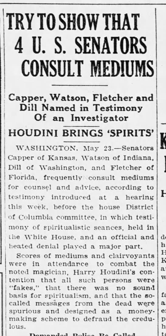 4 U.S. senators named in 1926 hearings for Houdini's bill -