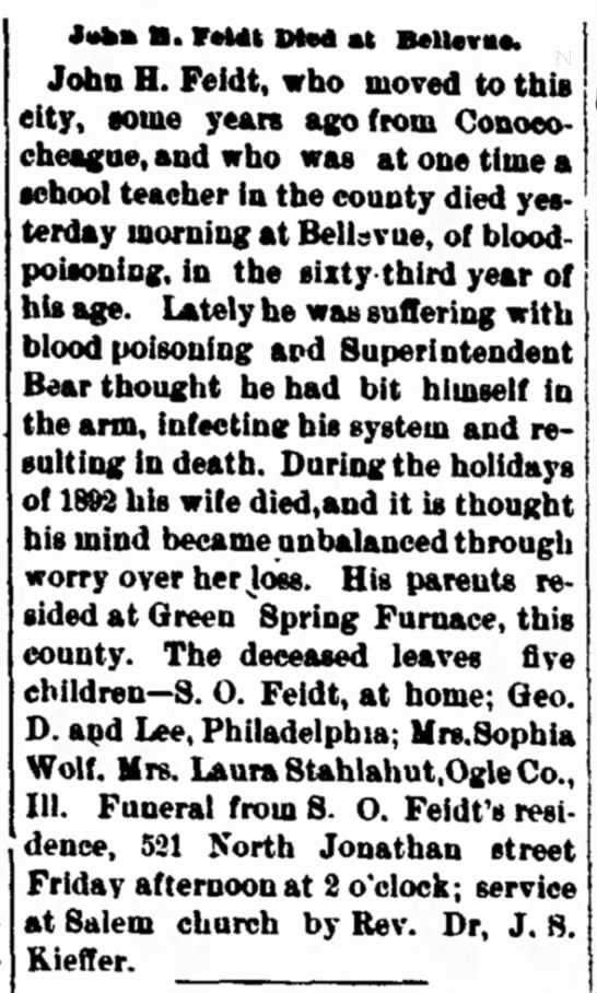 John H Feidt obit