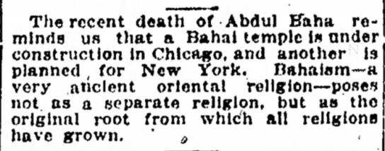 bit on passing of Abdu'l-Baha -
