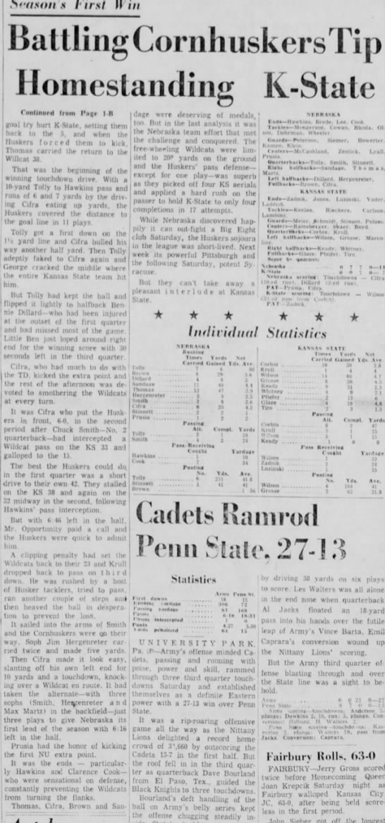 1957 Nebraska-Kansas State part 2 -