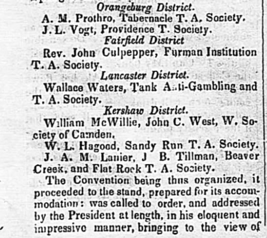 Wallace Waters Lancaster District SC. Tank Anti-Gambling and T. A. Society -