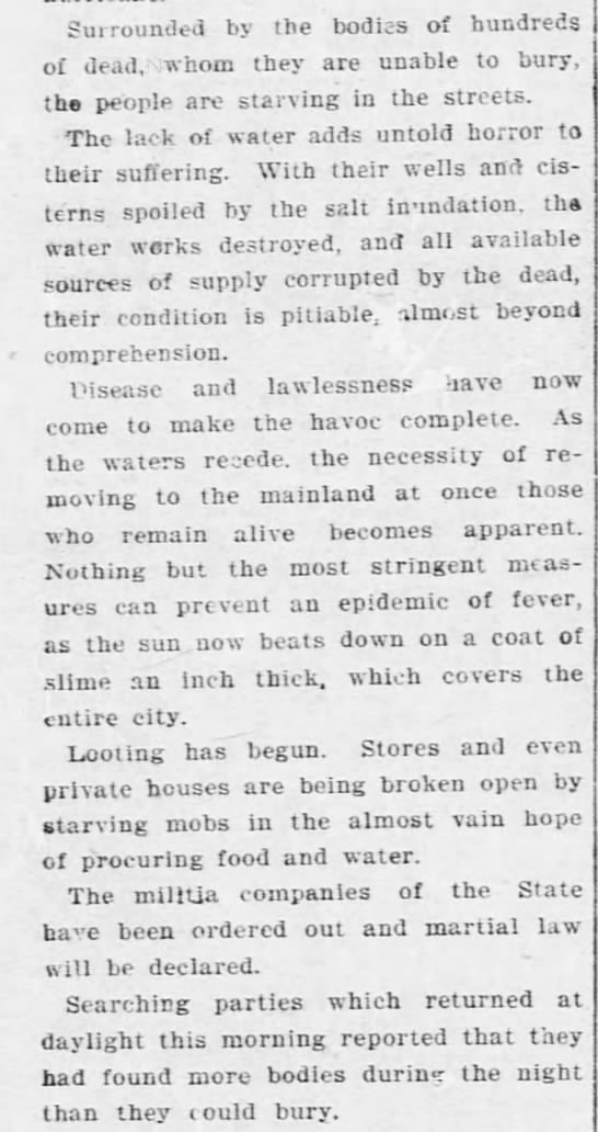 Description of the situation in Galveston in the days following the 1900 hurricane -