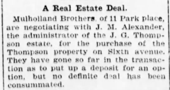 Mulholland brothers attempt purchase at Sixth Avenue. -