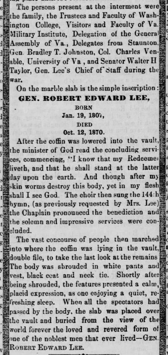 Account of interment of Robert E. Lee -