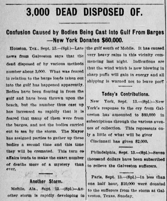 1900 Galveston Storm. Donations from NY, PA and Paris.- Tom Malmay -