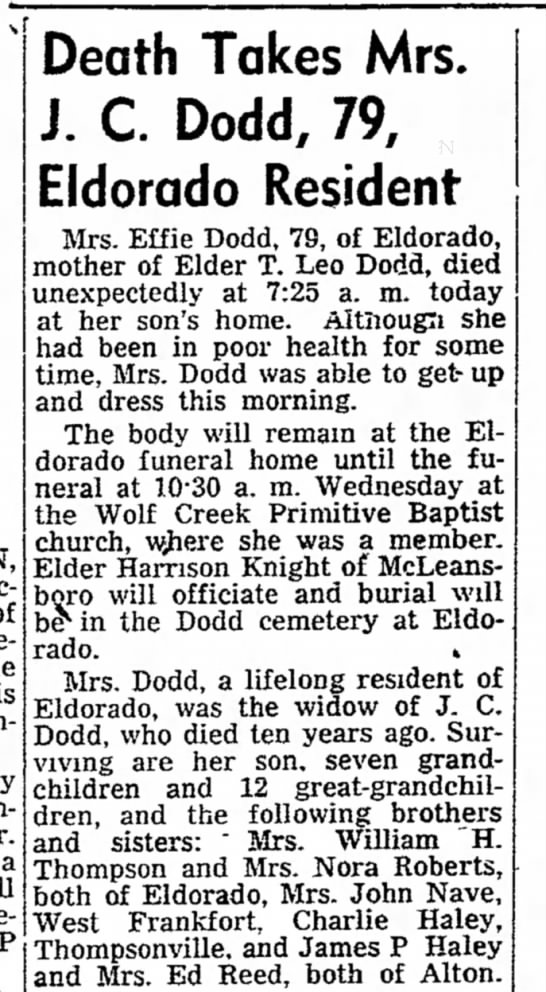 Nora Haelys' sister Obit (T. Leo Dodds mother) Sept. 29, 1952 -