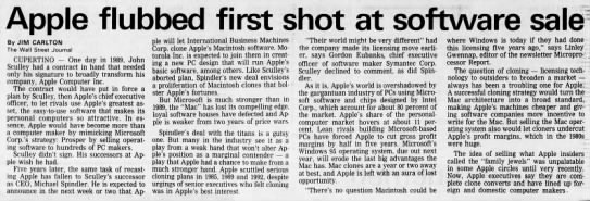When Apple almost licensed the Mac operating system to PC makers. -