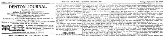 Aunt Laura having dinner at Uncle Jack's - PAGE TWO DENTON JOURNAL, DENTON, MARYLAND...