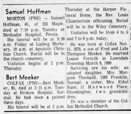 Bert Meeker Obituary - 1964 -