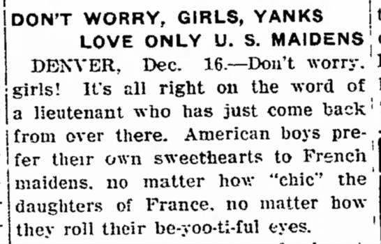 """Don't Worry, Girls, Yanks Love Only U.S. Maidens"" -"