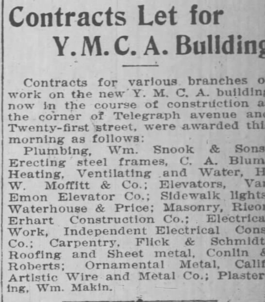 contracts for new YMCA building -