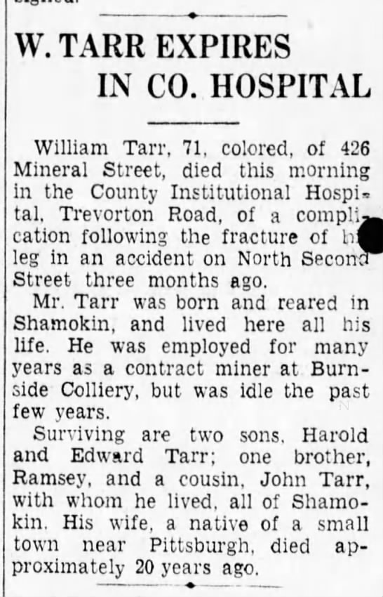 Death of William Samuel Tarr, 1939 -