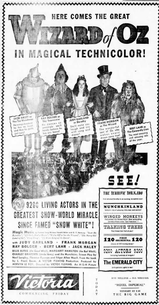 """Wizard of Oz"" theater ad -"