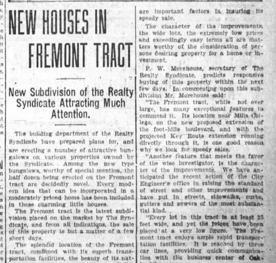 New Houses in Fremont Tract - Oakland Tribune Mar 31, 1912 -