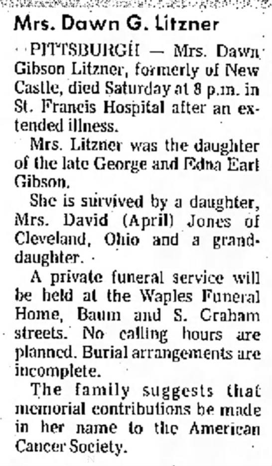 Obit @ Waples Funeral Home - Mrs. Dawn G. Litzner PITTSBURGH - Mrs. Dawn...