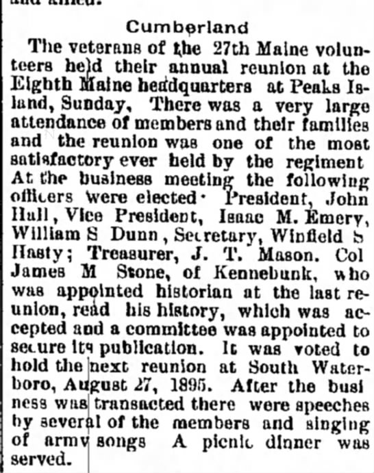 1894 - 8th ME allows 27th to hold reunion at building -