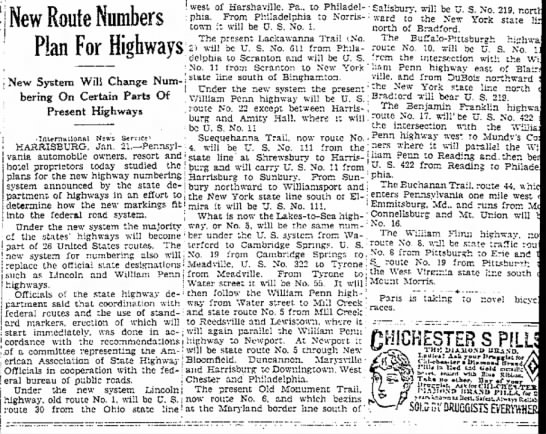 1928 number changes, January 21, 1928 -