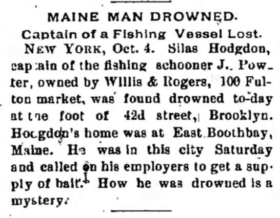 Capt. Silas Hodgdon Death Notice - Waterman's the Grand · ' T A I N E M A N D R...