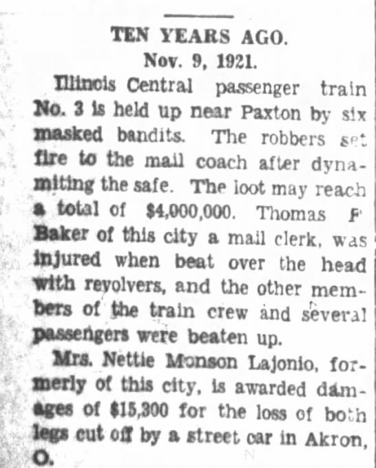 Journal Gazette (Matoon, Ill)  9 Nov 1931, P.4. -